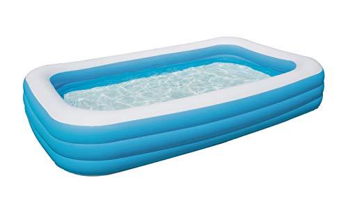 Bestway Family Pool Deluxe, Pool rechteckig für Kinder, leicht aufbaubar, blau,...