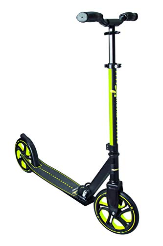 Muuwmi Unisex Jugend Aluminium Scooter Pro 215 mm, schwarz/lime, One Size