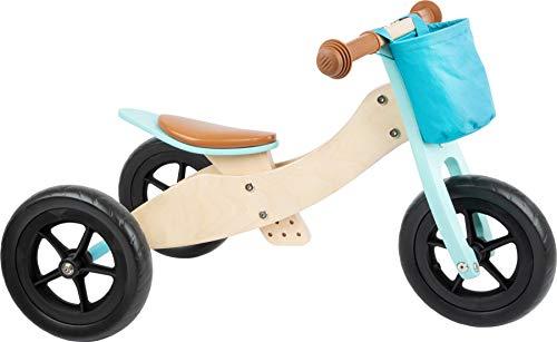 Small foot 11609 Laufrad-Trike Maxi 2 in 1 Türkis aus Holz, Drei- und Laufrad,...