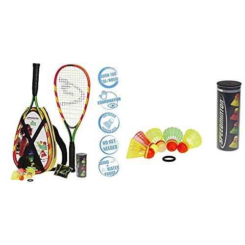 Speedminton S600 Set, Gr&uumln/Gelb/rosa, One Size & Unisex Bälle 5er Pack...