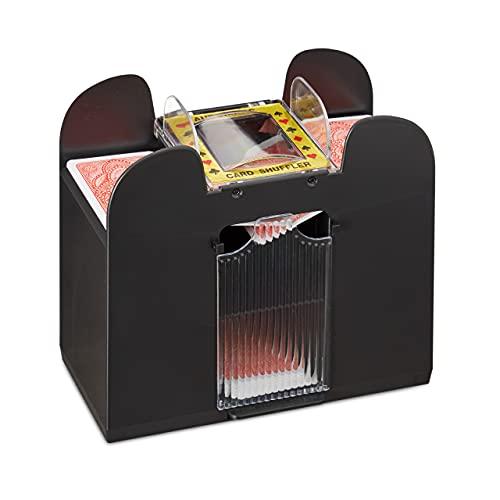 Relaxdays 10021345 Kartenmischer elektrisch, 6 Decks, batteriebetrieben,...