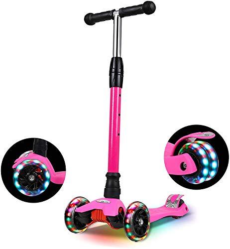 IMMEK Roller Kinder, PU Radstehende Scooter Roller mit LED-Lichtern, Scooter...