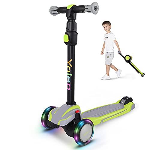 Yoleo Kinderroller, Tretroller mit LED Leuchtenden Räder, Kinder Scooter 4...