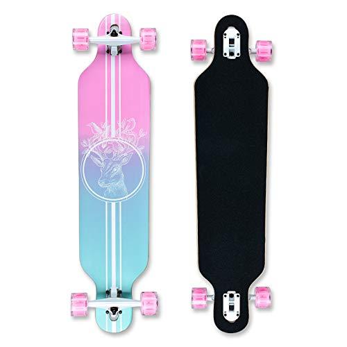 Longboard 41Zoll, mit ABEC-11 Kugellagern ,Drop-Through Freeride Skateboards...