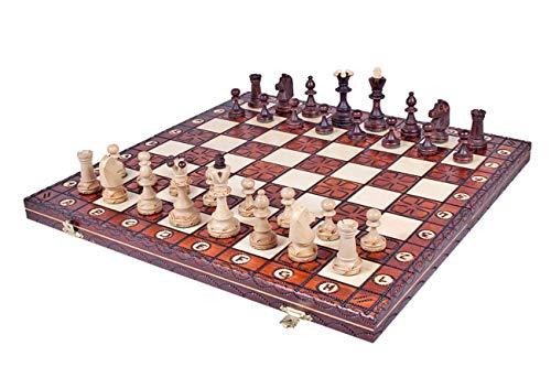 KADAX Schachspiel aus hochwertigem Holz, 42 x 42 cm, klappbar, Schach für...