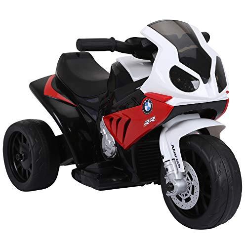 HOMCOM Elektro Kindermotorrad Kinderfahrzeug Elektro-Dreirad mit Akku Rot PP +...