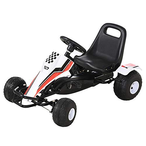 HOMCOM Go Kart Kinderfahrzeug Tretauto mit Pedal Bremsen Sitz Verstellbar...