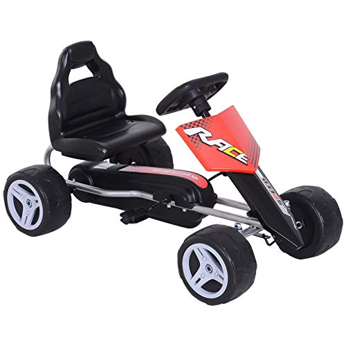 HOMCOM Kinder Go-Kart Tretauto Kinderfahrzeug mit Pedalen 4 Räder Metall +...