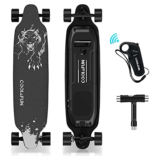 HOVERMAX Elektro Skateboard, 35,4x9 Zoll Elektrisches Longboard-Skateboard mit...