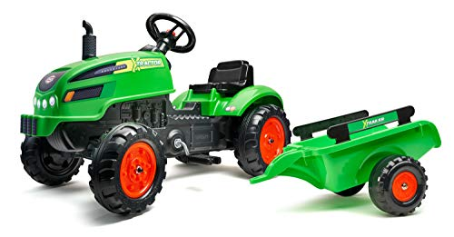 Falk 2048AB Tracteur à pédales X Tractor vert Avec Capot ouvrant et remorque...