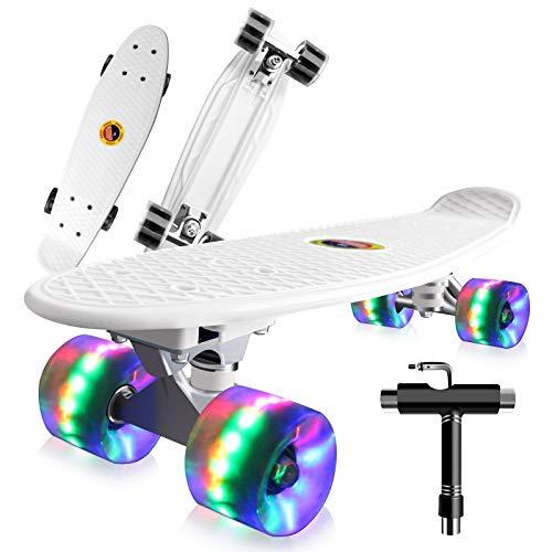 Saramond Skateboard komplett 55 cm Mini-Cruiser Retro-Skateboard für Kinder...