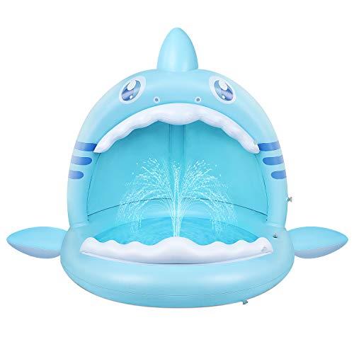 Baby Pool,Hai Planschbecken für Kleinkinder mit Überdachung,Kinder...