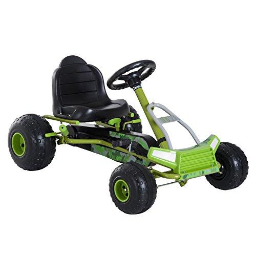 HOMCOM Kinder Go Kart Pedalfahrzeug Tretauto mit Handbremse 3-6 Jahre Grün 95 x...