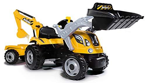 Smoby 7600710301 - Traktor Builder Max - Trettraktor mit Anhänger, Trailer...