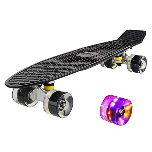 hausmelo Skateboard Mini Cruiser Retro Board Komplettboard für Anfänger Kinder...