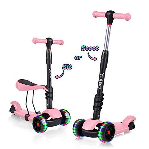 Yoleo 3-in-1 Kinder Roller Scooter mit Abnehmbarem Sitz, LED große Räder,...