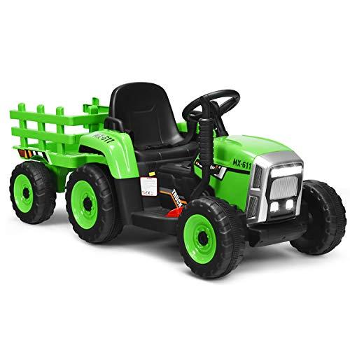 COSTWAY 12V 3-Gang Traktor mit abnehmbarem Anhänger und 2,4G Fernbedienung,...