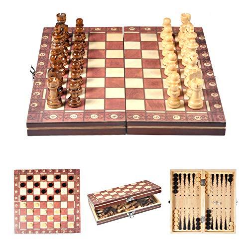 Schachspiel Holz Reise Schachspiel Magnetische Schachfiguren Bord Folding...