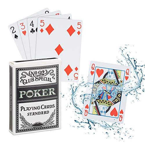 Relaxdays 10023628 Pokerkarten Plastik, wasserfestes Kartenspiel, reiß-&...