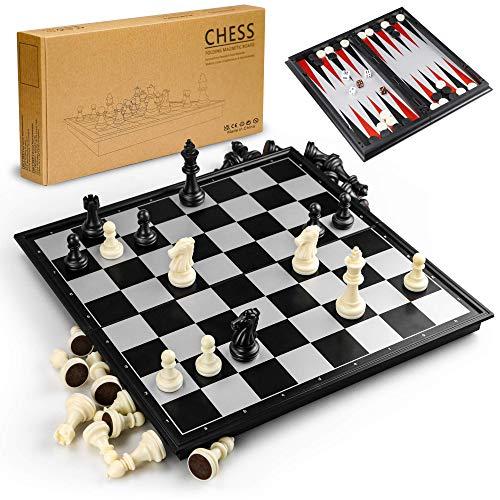 Gibot 3-in-1 Schachspiel Magnetisch , 32CM x32 cm Einklappbar Schachbrett...