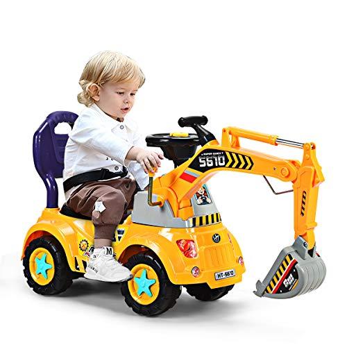 DREAMADE Sitzbagger mit Licht und Sound für Kleinkinder(3-5 Jahre alt ),...