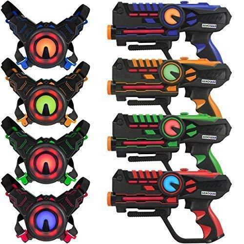 ArmoGear Laser-Tag - Laser-Tag-Pistolen mit 4er-Set - Mehrspieler-Laser-Tag-Set...