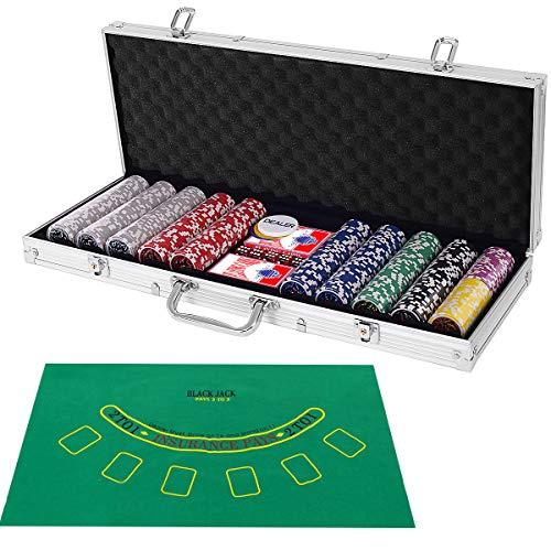 COSTWAY 500 Laser-Chips Pokerset, Poker Komplett Set mit Chips, 2 Spielkarten, 5...