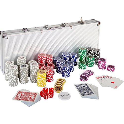 Ultimate Pokerset mit 500 hochwertigen 12 Gramm METALLKERN Laserchips, inkl. 2x...