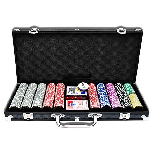 AufuN Pokerkoffer 500 Chips Laser Pokerchips 12 Gramm Metallkern, inkl. 2X...