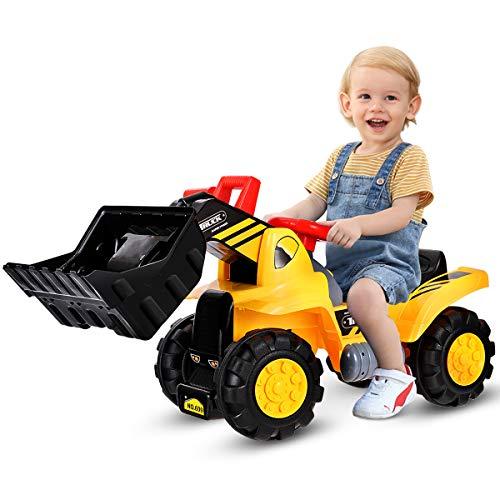COSTWAY Sitzbagger mit eingebautem Ablagefach, Kinderbagger mit 4 Sound-Tasten,...