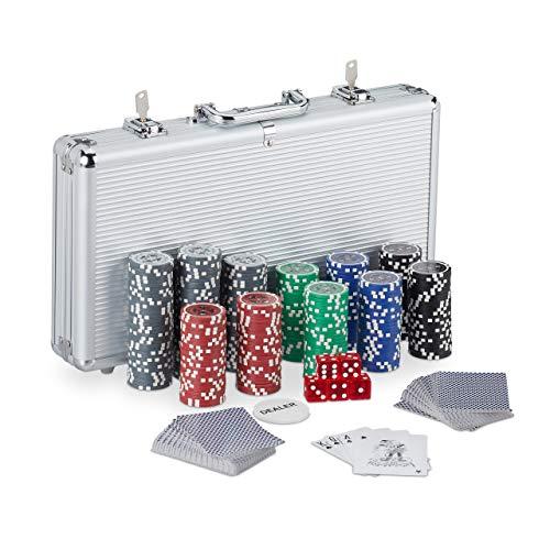 Relaxdays 10031551 Pokerkoffer, 300 Laser Pokerchips, 2 Kartendecks, 5 Würfel,...