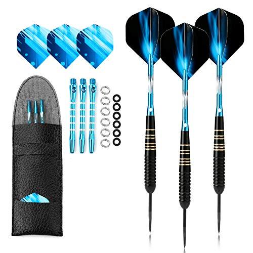 Crazy-m 3 Stück Profi dartpfeile blau Steeldarts dartscheibe 23 g Dartset...