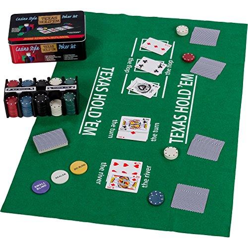 Maxstore Pokerset in Metallbox, 200 Poker Chips, 2 Decks, Dealer Button, Small...