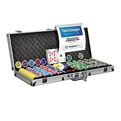 Nexos Pokerkoffer Pokerset 500 300 Laser Pokerchips Poker Komplett Set 12 g...