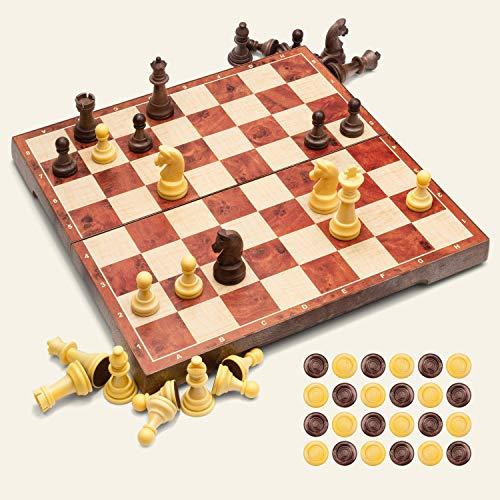 UNEEDE Magnetisch Schachspiel 31.2x31.2CM Einklappbar Schachbrett Pädagogische...