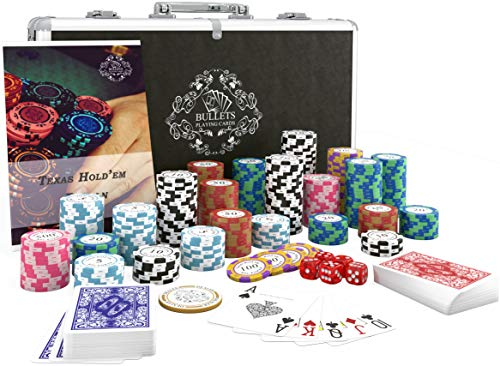 Bullets Playing Cards - Pokerkoffer deluxe Pokerset mit 300 Clay Pokerchips...