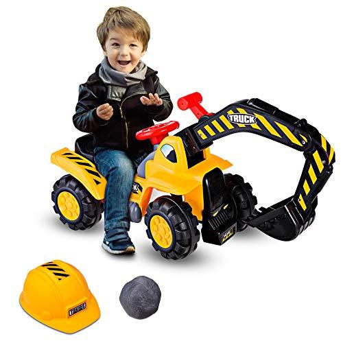 GOPLUS Sitzbagger Kinderbagger, Kinderfahrzeug Pedalfrei inkl. Schutzhelm und...