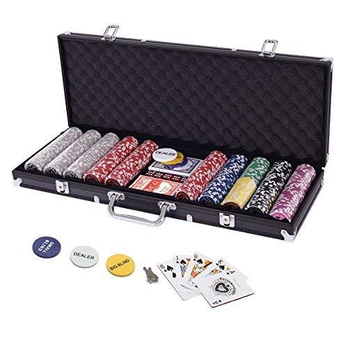 Display4top Pokerkoffer 500 Chips Laser Pokerchips Poker 12 Gramm , 2 Karten,...