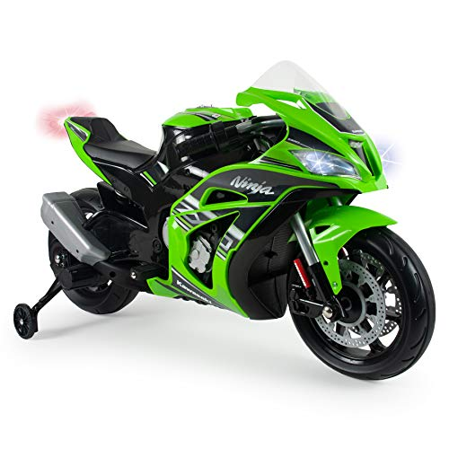 INJUSA - Kindermotorrad Ninja Kawasaki ZX10 12V mit MP3 und...