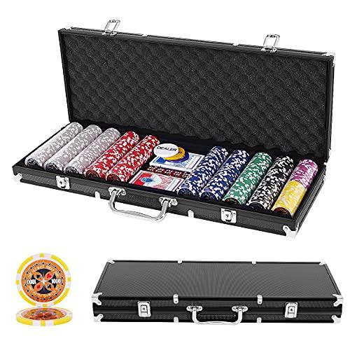 GOPLUS 500 Laserchips Pokerset, Poker Komplett Set, Pokerkoffer Set, inkl. 500...