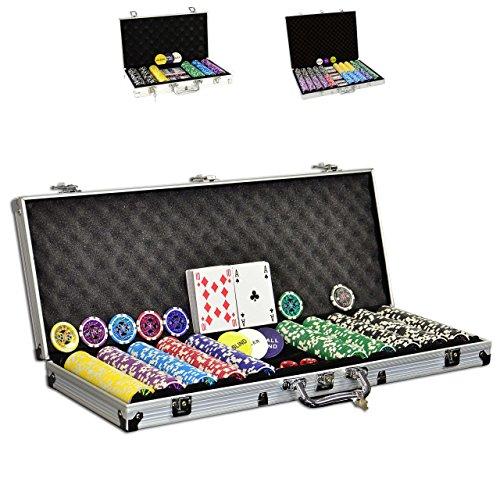 SONLEX Pokerkoffer mit 300 500 1000 Laser Pokerchips 12 g abschließbar...