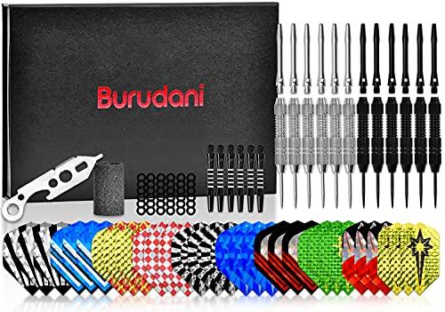 Burudani Dartpfeile Metallspitze | Umfangreiches Steeldarts Set mit 12 Darts |...