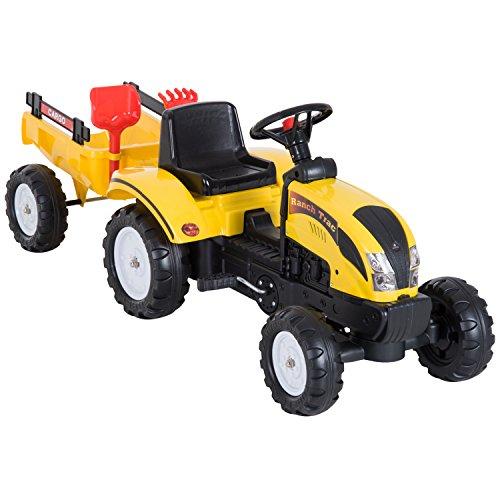 HOMCOM Tretauto Traktor Trettraktor mit Anhänger ab 3 Jahre Spielzeug Kinder...