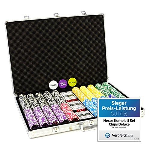 Nexos Pokerkoffer 1000 Chips Laser Pokerchips Poker Komplett Set Alu-Koffer,...