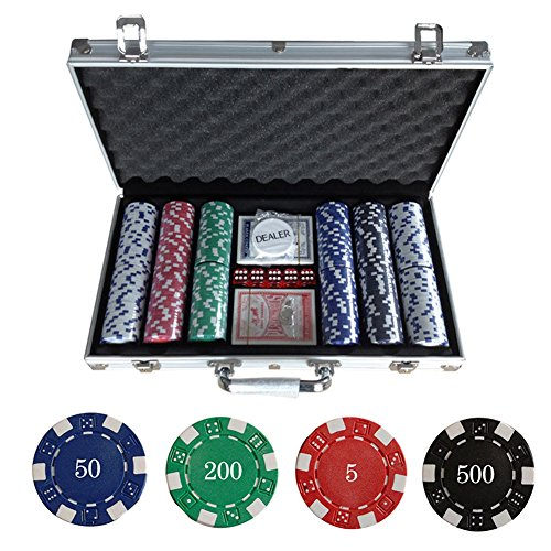 WeFun Poker Koffer Set,Pokerkoffer Pokerset 300 Laser Pokerchips Poker Komplett...