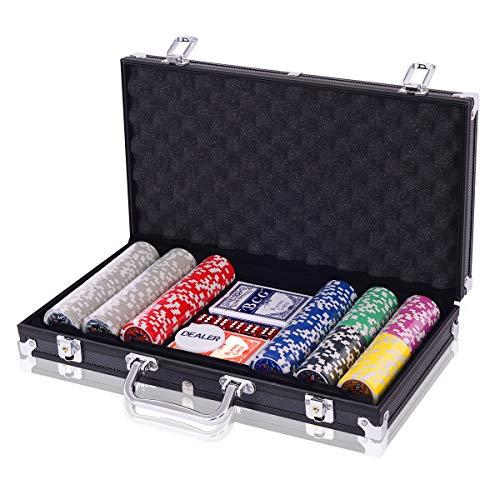 COSTWAY Pokerset Pokerkoffer 300 Laser-Chips Alukoffer inkl. Komplettset...