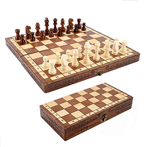 Syrace Schachbrett aus Holz, zusammenklappbar, handgefertigt, 30 x 30 cm