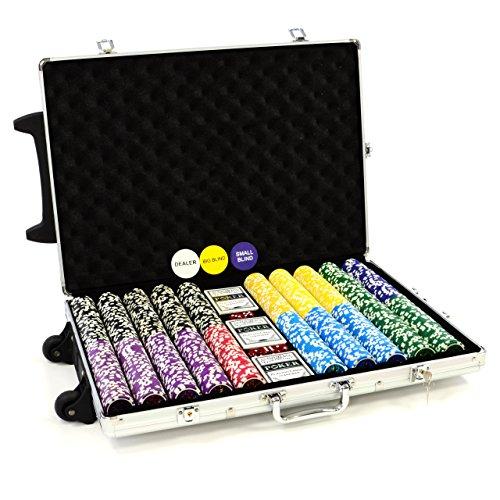 Trolley Pokerkoffer 1000 Chips Laser Pokerchips Poker Komplett Set Trolley...