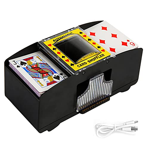 Washranp 2 in 1 Kartenmischer Elektrisch,USB-betrieben/Batteriebetrieben 2 Decks...
