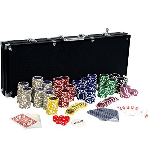 Ultimate Black Edition Pokerset, 500 hochwertige 12 Gramm METALLKERN Laserchips,...